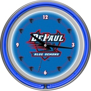 "Trademark 14"" Double Ring Neon Clock, DePaul University"