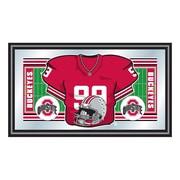 "Trademark NCAA 15"" x 26"" x 3/4"" Wooden Football Jersey Framed Mirror, The Ohio State"