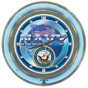 "Trademark 14"" Double Ring Neon Clock, United States Navy"