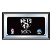 Trademark NBA 15 x 27 x 3/4 Wooden Framed Mirror, Brooklyn Nets