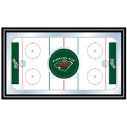 Trademark NHL 15 x 27 x 3/4 Wooden Hockey Rink Framed Mirror, Minnesota Wild