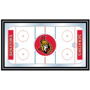 Trademark NHL 15 x 27 x 3/4 Wooden Hockey Rink Framed Mirror, Ottawa Senators