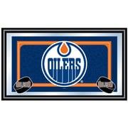 Trademark NHL 15 x 27 x 3/4 Wooden Team Logo Framed Mirror, Edmonton Oilers