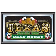 "Trademark 15"" x 26"" x 3/4"" Wooden Framed Mirror, Texas Holdem Dead Money"