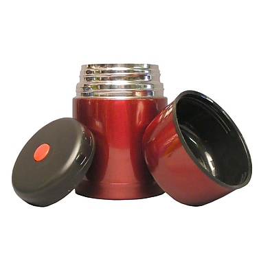 Geo Stainless Steel Vacuum Flasks, 600mL, Red, 2/Pack