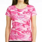 CafePress™ Women's Keep Calm and ride on Dark T-Shirt, Charcoal Heather, Medium
