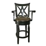 CorLiving™ Woodgrove 45 1/2 Leatherette Scroll Back Bar Stool With Armrest, Dark Cappuccino/Black