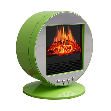 CorLiving FPE-437-F Desktop Fireplace / Space Heater, Green & Silver