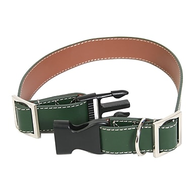 Royce Leather Small-Medium Two-Toned Dog Collar, Dark Green and Tan