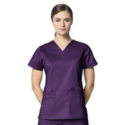 WonderWink WonderFLEX Women Medium Verity Darted V-Neck Scrub Top, Eggplant (6108AEGPMD)