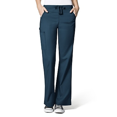 WonderWink® Grace Lady Fit Elastic Waist Flare Leg Cargo Regular Scrub Pant, Caribbean Solid, Medium