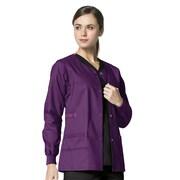 WonderWink® Constance Snap Front Scrub Jacket, Eggplant, 3X