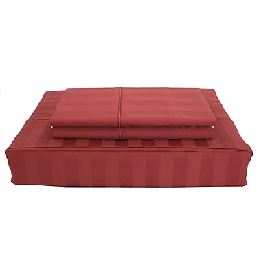 Ambassador Damask Stripe Sheet Set, 300 Thread Count, Double, Ruby