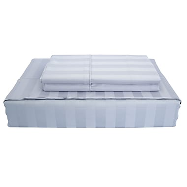 Ambassador Damask Stripe Sheet Set, 300 Thread Count, Queen, Sky Blue