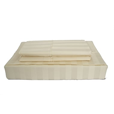 Maholi Bamboo Stripe Sheet Set, 310 Thread Count, Twin, Beige