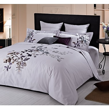 Maholi Indigo Orchids Embroidered Duvet Cover Set, King