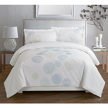 Maholi Spiral Blue Embroidered Duvet Cover Set, Queen