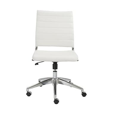 Eurostyle Axel Leather Executive Office Chair, Armless, White (00595WHT)