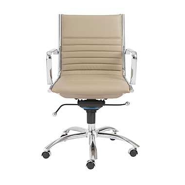 Euro Style 00674TPE Leatherette Low-Back Task Chair with Fixed Arms, Taupe