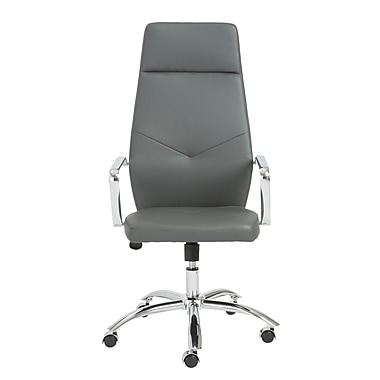 Euro Style™ Napoleon Leather High Back Office Chair, Gray
