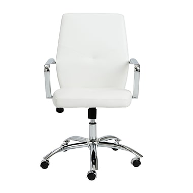 Eurostyle Napoleon Leather Executive Office Chair, Fixed Arms, White (01292WHT)