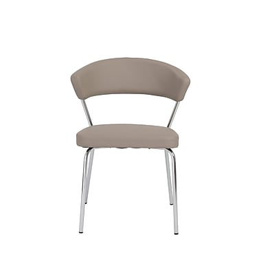 Euro Style™ Draco Leatherette Side Chair, Taupe