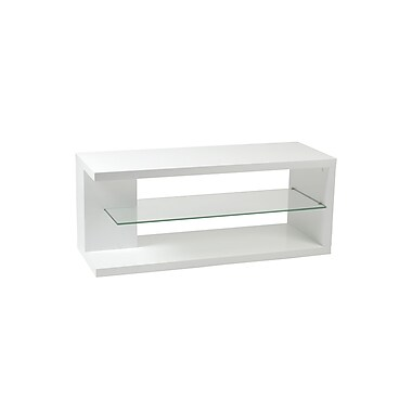 Euro Style™ Hilda Wood Media Stand, White Lacquer