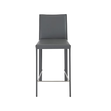 Euro Style Hasina 36.82'' Modern Legged Base Leather Bar Stool, Gray (38626GRY)