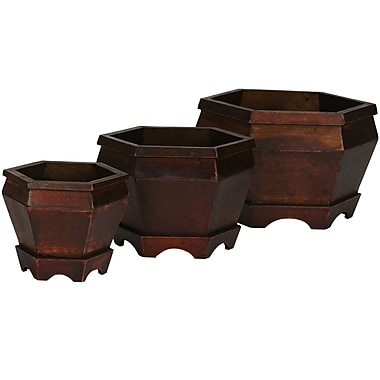Nearly Natural 507 Wooden Planter Set of 3