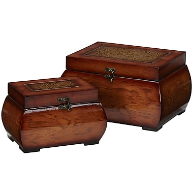 Nearly Natural 527 Lacquered Wood Chests Set of 2