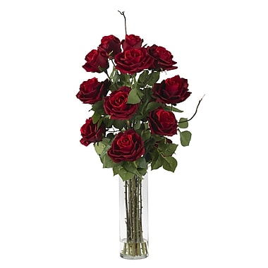 Nearly Natural 1206 Roses with Cylinder Vase Floral Arrangements, Red