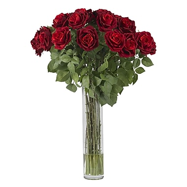 Nearly Natural 1215 Large Rose Silk Floral Arrangements, Red