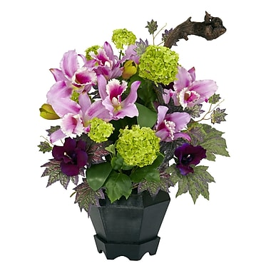 Nearly Natural 1257 Mixed Cattleya Hydrangea Floral Arrangements, Green