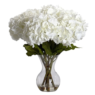 Nearly Natural 1260 Large Hydrangea Silk Floral Arrangements, White