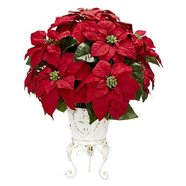 Nearly Natural 1267 Poinsettia in Metal Planter, Red