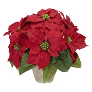 Nearly Natural 1268 Poinsettia in Ceramic Vase, Red