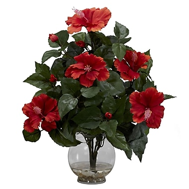 Nearly Natural 1279 Hibiscus in Fluted Vase, Red