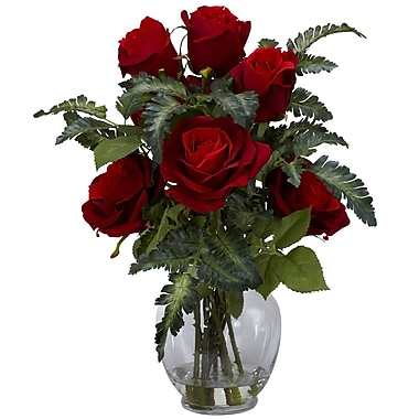 Nearly Natural 1280 Rose and Fern Silk Floral Arrangements, Red