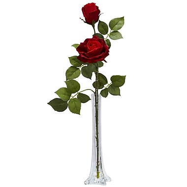 Nearly Natural 1283 Roses in Tall Bud Vase, Red