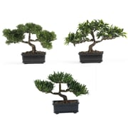 "Nearly Natural 4121 12"" Bonsai Set of 3 Plant in Pot"