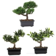 "Nearly Natural 4122 8"" Bonsai Set of 3 Plant in Pot"