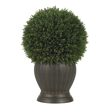 Nearly Natural 4123 Cedar Ball Topiary Desk Top Plant in Decorative Vase