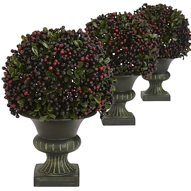 Nearly Natural 4126 Pepper Berry Ball Set of 3 Floor Plant in Decorative Vase