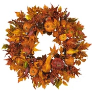 "Nearly Natural 4648 28"" Pumpkin Wreath, Orange"