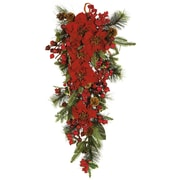 Nearly Natural 4656 Poinsettia Teardrop Swag, Red