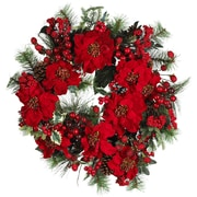 "Nearly Natural 4660 24"" Poinsettia Wreath, Red"