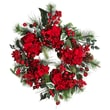 "Nearly Natural 4661 22"" Hydrangea Holiday Wreath, Red"