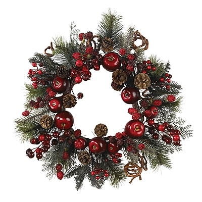 """""""""""Nearly Natural 4677 22"""""""""""""""" Apple Berry Wreath, Red"""""""""""" 1232727"""
