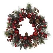 "Nearly Natural 4677 22"" Apple Berry Wreath, Red"