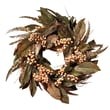 "Nearly Natural 4681 24"" Feather & Berry Wreath, Green"